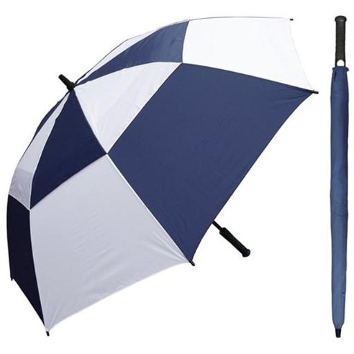 RainStoppers W030NYW 60 in. Auto Open Navy & White Wind Buster Golf Umbrella with Golf Grip Handle, 6 Piece