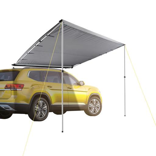 Yescom 8.2'x8.2' Car Side Awning Rooftop Pull Out Tent Shelter PU2000mm UV50+ Shade SUV Outdoor Camping Travel Grey