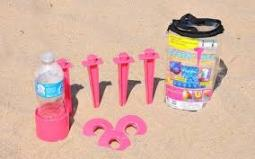Beachtacs Pink, 8pc Set Includes Carrying Tote with Inside Pouch Beach Tacs