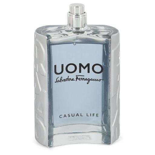 Salvatore Ferragamo Uomo Casual Life by Salvatore Ferragamo Eau De Toilette Spray (Tester) 3.4 oz Salvatore Ferragamo Uomo Casual Life is a cologne inspired by the lifestyles of men that simply enjoy life. Salvatore Ferragamo, a household name in luxury goods, produced the fragrance in 2017. Top notes of spicy cardamom, sweet violet leaf and citrusy lemon bring excitement and rejuvenation.