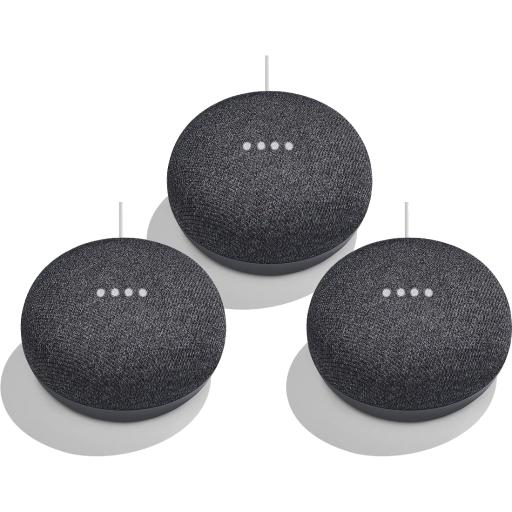 3-Pack Google Home Mini Smart Speaker (Charcoal)