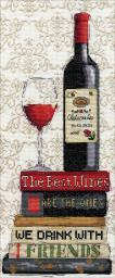 """Red Wine Counted Cross Stitch Kit-6""""X14"""" 14 Count 2982"""