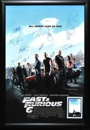 Fast and Furious 6 Movie Poster - Signed by Cast in Wood Frame + COA