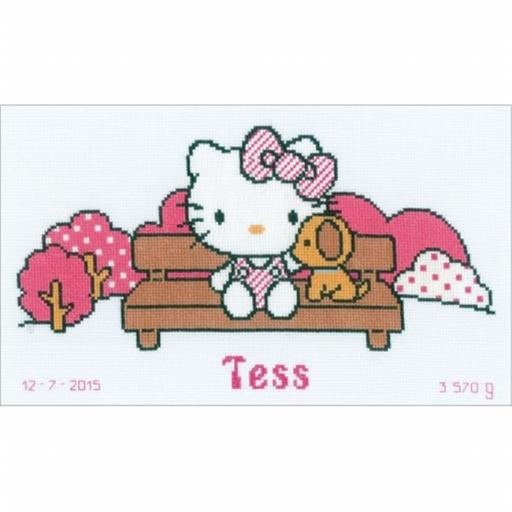 Vervaco V0155878 12.8 x 7.6 in. Hello Kitty In The Park on Aida Counted Cross Stitch Kit, 14 Count