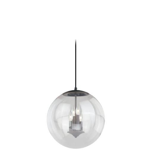 Vaxcel International P0126 630 Series 15-3/4 in. Pendant Black Iron With Clear Glass - Black Iron