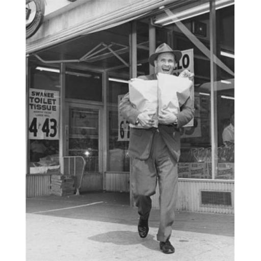 Posterazzi SAL25543750 Mid Adult Man Carrying Shopping Bags in Front of a Store Poster Print - 18 x 24 in.