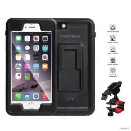 Tritina Bike Phone Mount for iPhone 6,6s Waterproof IP68 Shockproof Holder Case for Motorcycle, Bicycle (Black)