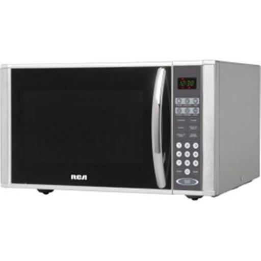 Curtis RMW1138 Rca 1.1 Cu Ft Microwave Ss RCA RMW1138 Stainless Steel  1.1 Cubic Feet Microwave Oven with 10 power levels and child lock; sleek curved handle, Soft-touch electronic control panel; convenient auto-cook menu, Dishwasher-safe removable glass turntable for even heating, Digital clock and kitchen timer; cook and defrost by weight and 6 x one touch functions; including, pizza, popcorn, baked potato etc