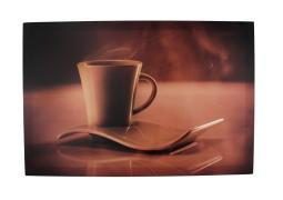 Sepia Cup of Coffee and Saucer Stretched Nylon Canvas Artwork