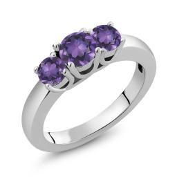 Gem Stone King 4.48 Ct Round Purple Amethyst 925 Sterling Silver Gemstone Birthstone Women's Ring (Available 5,6,7,8,9)