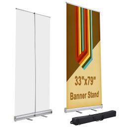 "33"" x 79"" Aluminum Retractable Roll Up Banner Stand Trade Show Display Promotion Exhibition Sign Holder with Carry Bag"