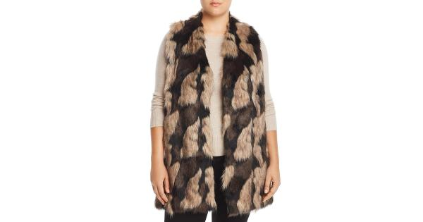 Joseph A. Womens Plus Faux Fur Open Front Vest