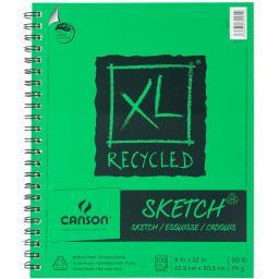 """Canson XL Recycled Side Spiral Sketch Paper Pad 9""""X12"""" 100 Sheets"""
