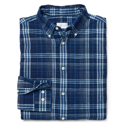 GANT Rugger Men's Slim Fit Check Shirt, Dark Indigo