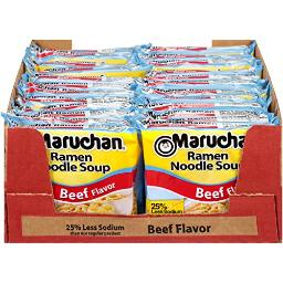 Maruchan Ramen Less Sodium Beef, 3.0 Oz, Pack of 24