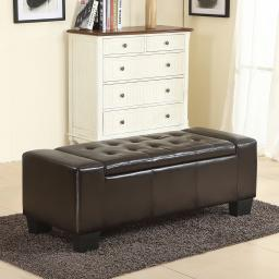 "Belleze 51""-inch Storage Ottoman Bench Faux Leather Rectangular Tufted Large, Brown"
