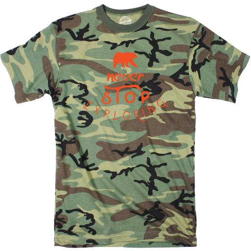 Camo Never Stop Exploring Tshirt Cute Outdoors Camping Camoulflage Tee