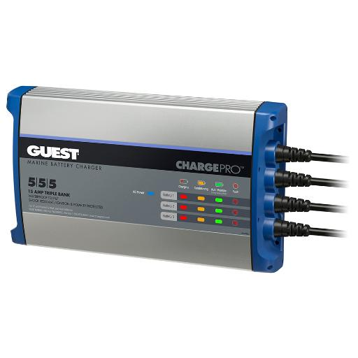 Guest on-board battery charger 15a 12v 3 bank 120v 2713a