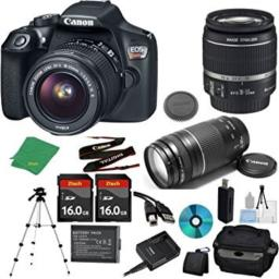 Canon EOS Rebel T6 Camera with 18-55mm IS Lens + 75-300mm III Zoom + 2pcs 16GB Memory + Camera Case + Memory Card Reader + Professional Tripod + 6pc Starter Set - International Version