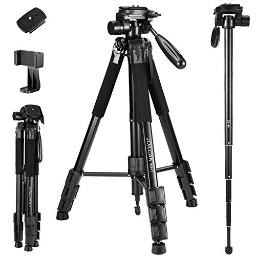 72Inch Cameraphone Tripod, Aluminum Tripod Travel Monopod Full Size For Dslr With 2 Quick Release Plates,Universal Phone Mount And Convenient Carrying Case Ideal For Travel And Work  Mh1 Black