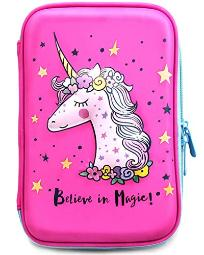 Unicorn Pencil Case For Girls  Cute Preschool, Kindergarten, And Elementary Pen Holder With Compartments Toddler Pink School Zipper Pouch Pink Unicorn Pink Unicorn