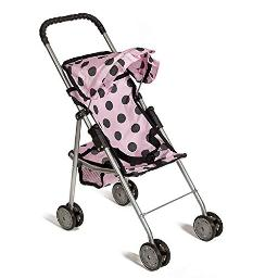 Mommy & Me My First Baby Doll Stroller with Basket, Extra Tall 23 Inch, Foldable Stroller, Polka Dot