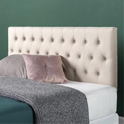 Zinus Trina Upholstered Modern Classic Tufted Headboard in Taupe Queen