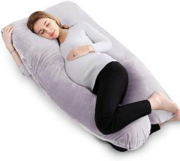 VECELO U-Shaped Pregnancy Full Maternity Pillow with Zipper Removable Cover, Body Pain Relief, Gray