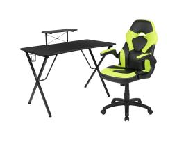 Offex Black Gaming Desk and Green/Black Racing Chair Set with Cup Holder, Headphone Hook, and Monitor/Smartphone Stand