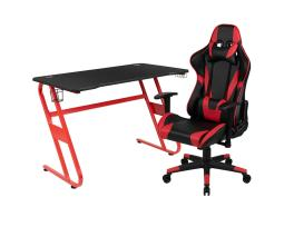 Offex Red Gaming Desk and Red/Black Reclining Gaming Chair Set with Cup Holder and Headphone Hook