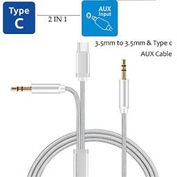 Type-C Car Aux Adapter Sartyee 33ft Nylon Braid Aux Cable with 35mm Male to Male and Type-C Ports for Moto ZGalxy S8  S8 Plus Android Smart-Phone to Car Stereo (Silver)