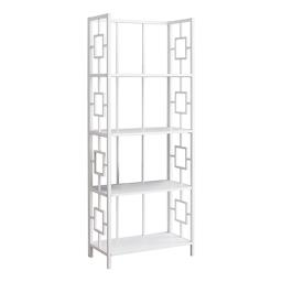 Offex Home Office 4 Tier Etagere Bookcase with Metal Frame - White