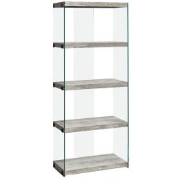 """Offex 60""""H Contemporary 4-Shelf Bookcase with Tempered Glass Frame - Grey"""