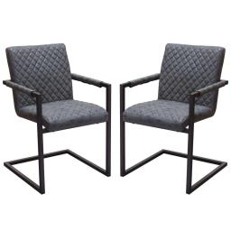 Diamond Tufted Leatherette Dining Chairs with Metal Cantilever Base, Gray and Black, Pack of Two