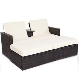 3 pcs Outdoor Rattan Wicker Chaise Lounge Love Seat