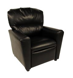 Dozydotes Contemporary  Tween Recliner in Black Leather Like