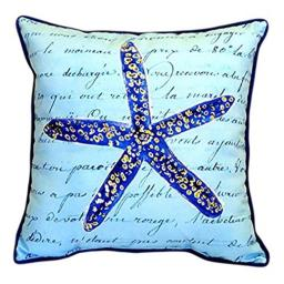 "Betsy Drake Blue Starfish Indoor/Outdoor Pillow, 18"" x 18"""