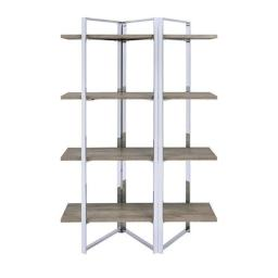 Geometric Metal Framed Bookshelf with Four Open Wooden Shelves, Brown and Silver