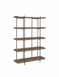5 Tier Metal Framed Bookcase with Wooden Storage Shelves, Large, Brown and Black