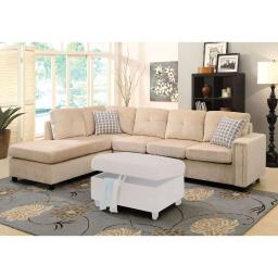 Sophisticated Sectional Sofa with 2 Pillows (Reversible), Beige