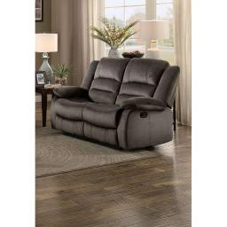 Polyester Upholstered Double Recliner Loveseat, Chocolate Brown