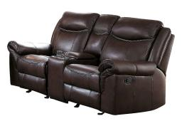 Leatherette Upholstered Dual Glider Recliner Love Seat With Console, Brown