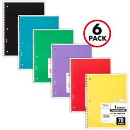 Mead Spiral Notebooks, 1 Subject, College Ruled, 70 Sheets, Assorted Colors, 6 Pack (73065)