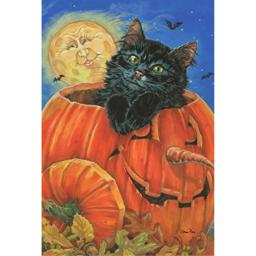 Toland Home Garden Meow-lo-ween 28 x 40 Inch Decorative Halloween Kitty Cat House Flag