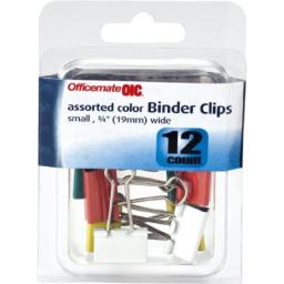 Officemate OIC Small Binder Clips, Assorted Colors, 12 in a Pack (31087)