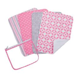 Trend Lab Zipper Pouch and 4 Burp Cloth Gift Set, Lily Pink