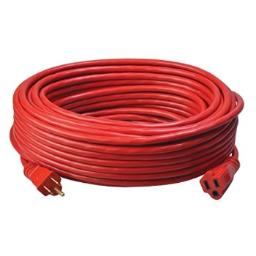 Coleman Cable 02409 14/3 SJTW Vinyl Outdoor Extension Cord, 100-Foot, Red