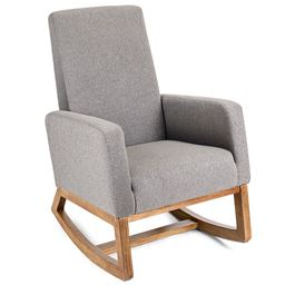Mid Century Retro Modern Fabric Upholstered Rocking Chair