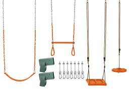 Swingan DIY Swing Set Kit - With Belt Swing, Trapeze Bar, Disc Swing And Standing Swing - A-Frame Brackets And All Assembly Hardware Included - Wood Beams Not Included - Orange