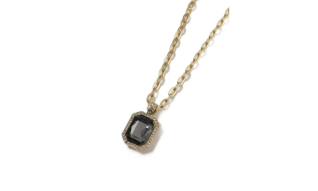 14K Gold Plating Curb Chain Black Sapphire Emerald Cut Pendant Necklace